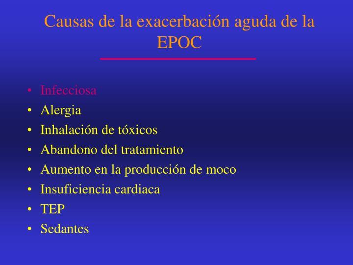 Causas de la exacerbación aguda de la EPOC