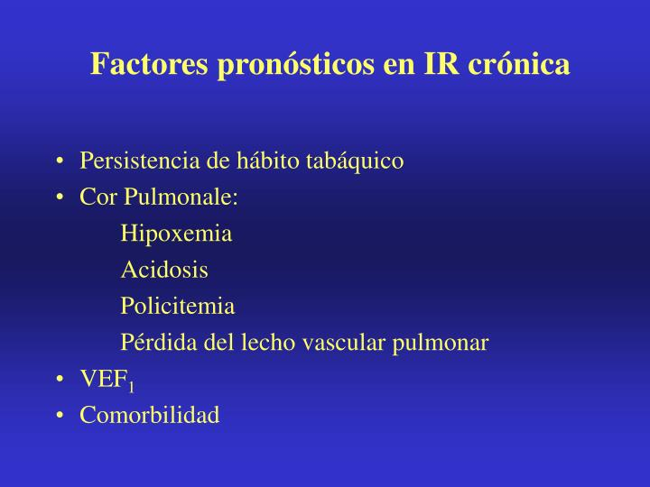 Factores pronósticos en IR crónica