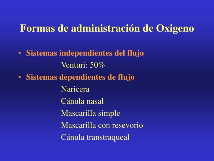Formas de administración de Oxigeno