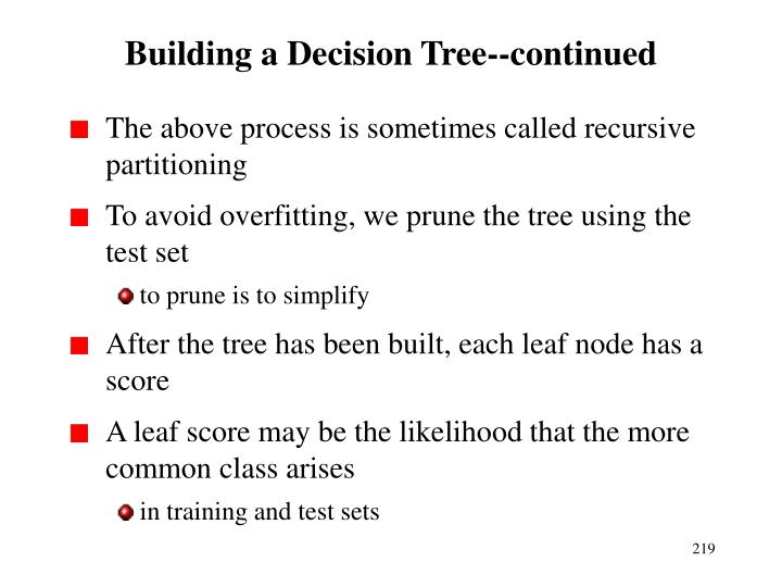 Building a Decision Tree--continued
