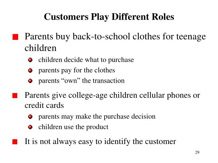 Customers Play Different Roles