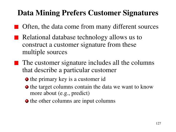 Data Mining Prefers Customer Signatures