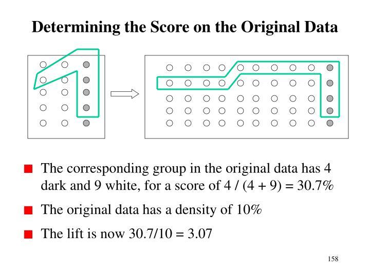Determining the Score on the Original Data