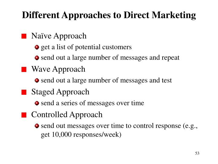 Different Approaches to Direct Marketing