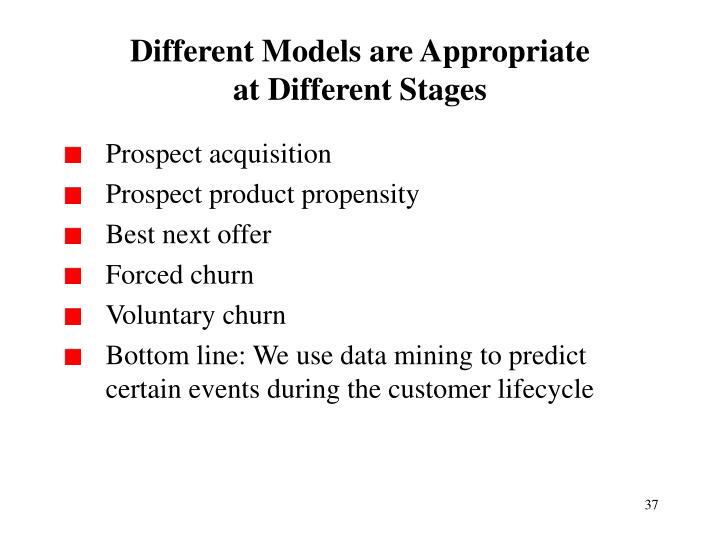 Different Models are Appropriate