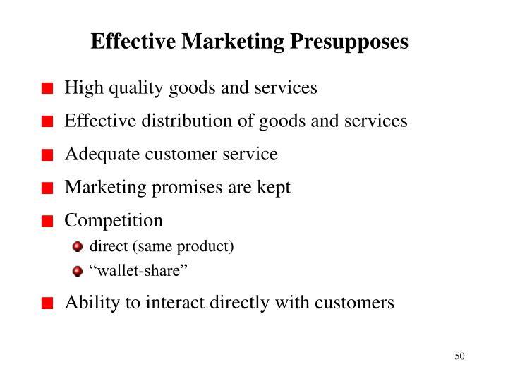 Effective Marketing Presupposes