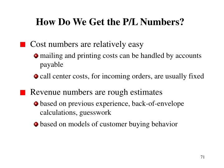 How Do We Get the P/L Numbers?