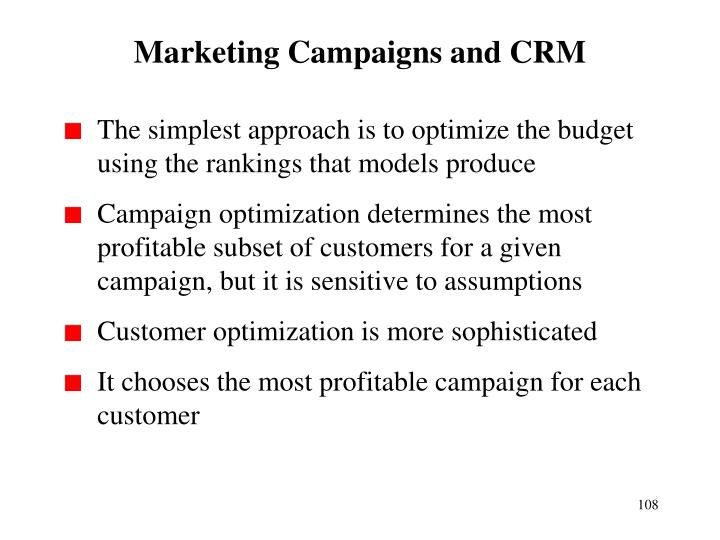Marketing Campaigns and CRM