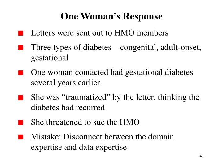 One Woman's Response