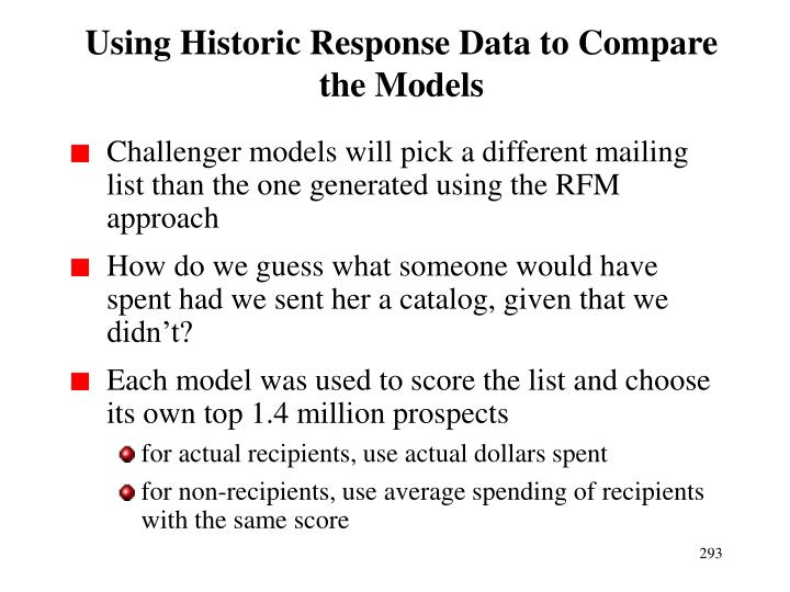 Using Historic Response Data to Compare the Models