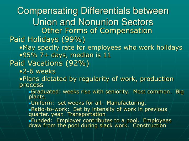 Compensating Differentials between Union and Nonunion Sectors