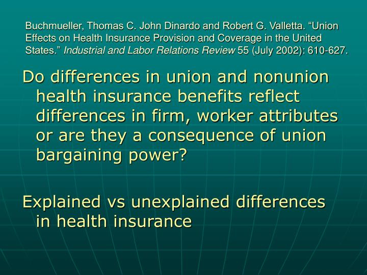 "Buchmueller, Thomas C. John Dinardo and Robert G. Valletta. ""Union Effects on Health Insurance Provision and Coverage in the United States."""