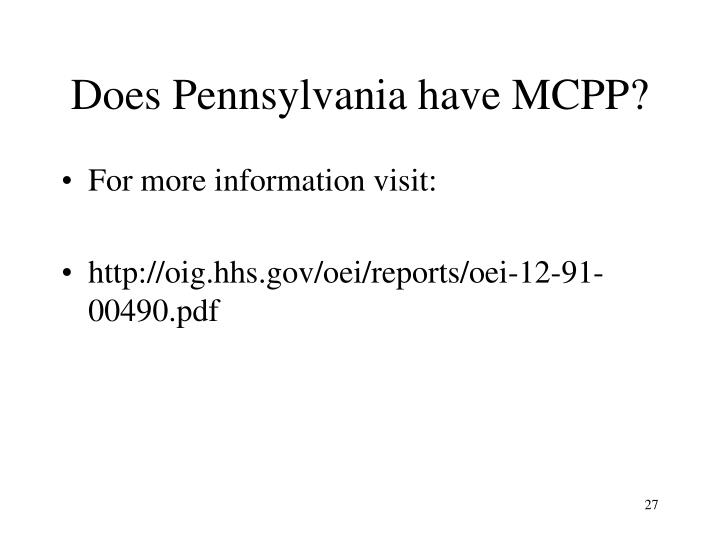 Does Pennsylvania have MCPP?