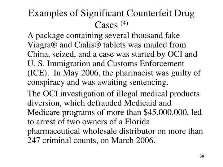Examples of Significant Counterfeit Drug Cases