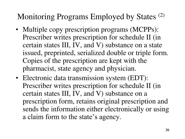 Monitoring Programs Employed by States