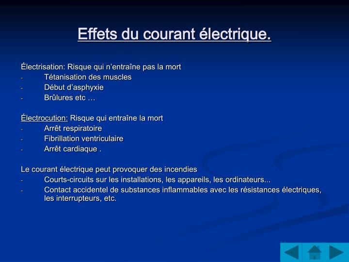 Effets du courant électrique.