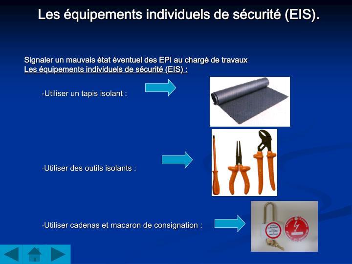 Les équipements individuels de sécurité (EIS).