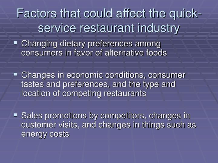 Factors that could affect the quick-service restaurant industry