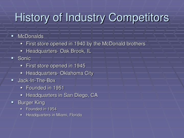 History of Industry Competitors