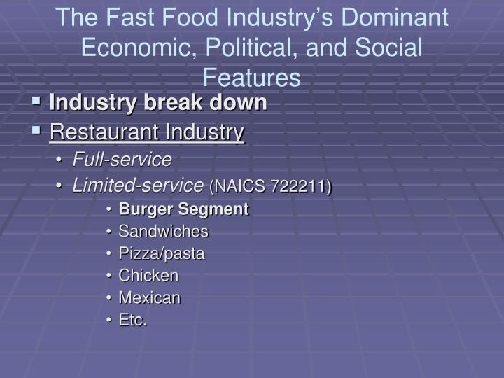 The Fast Food Industry's Dominant Economic, Political, and Social Features