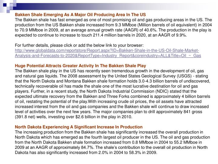 Bakken Shale Emerging As A Major Oil Producing Area In The US
