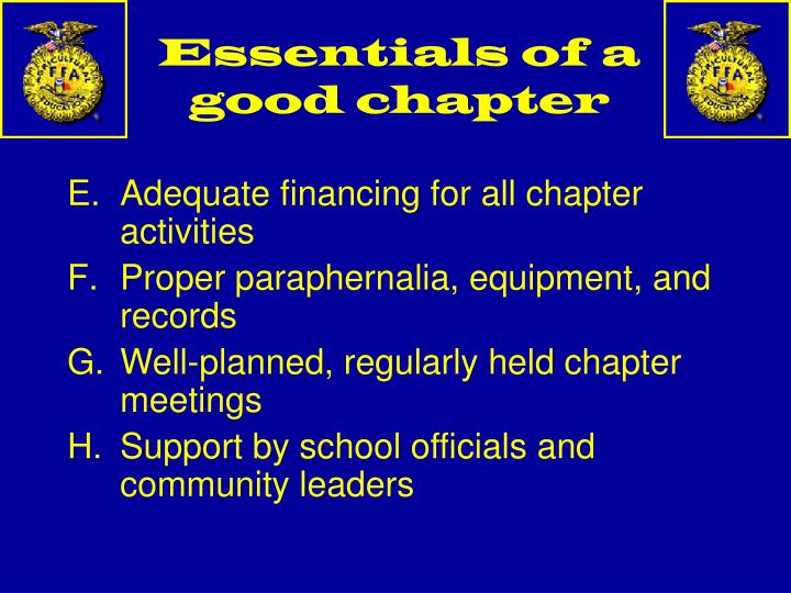Essentials of a good chapter