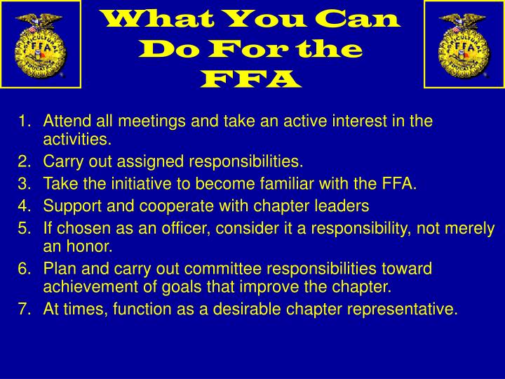 What You Can Do For the FFA