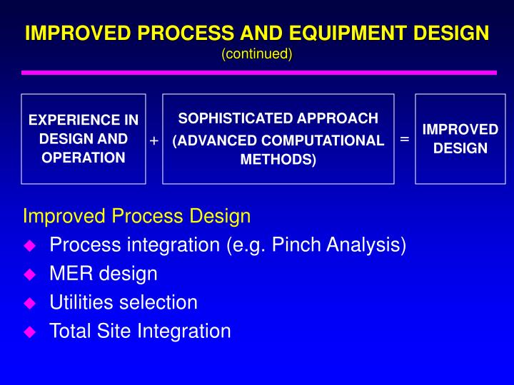 IMPROVED PROCESS AND EQUIPMENT DESIGN