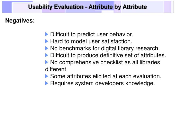 Usability Evaluation - Attribute by Attribute