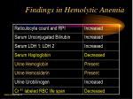 findings in hemolytic anemia
