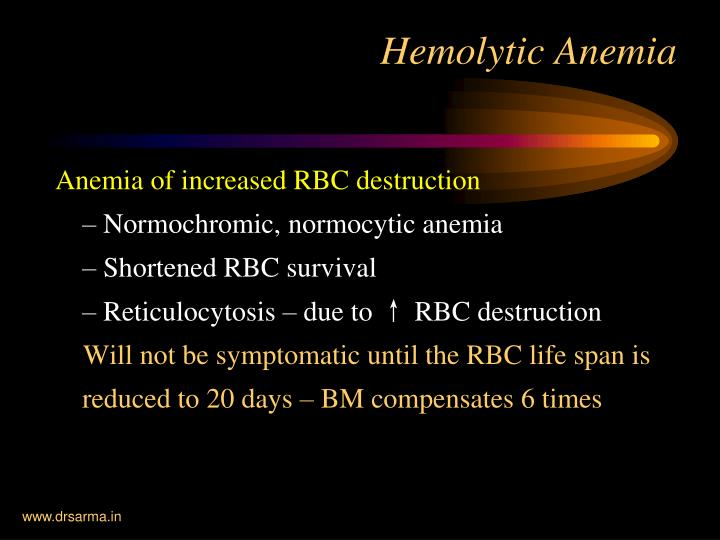 Anemia of increased RBC destruction