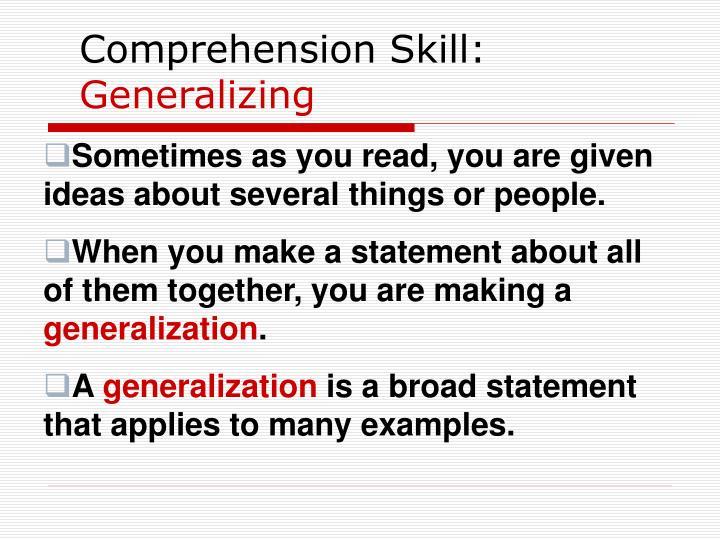 Comprehension Skill: