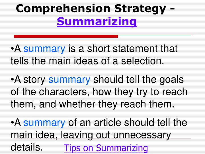 Comprehension Strategy -