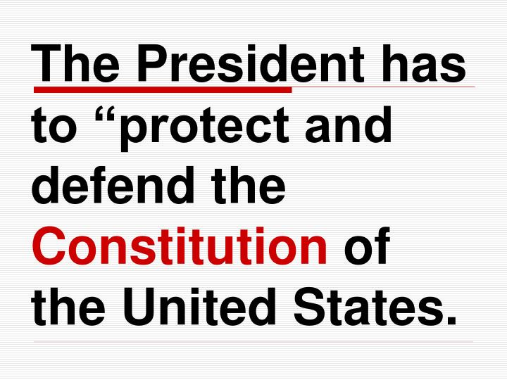 """The President has to """"protect and defend the"""