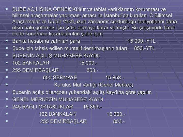 ŞUBE AÇILIŞINA ÖRNEK:Kültür ve tabiat varlıklarının korunması ve bilimsel araştırmalar yapılması amacı ile İstanbul'da kurulan  C Bilimsel Araştırmalar ve Kültür Vakfı,uzun zamandır sürdürdüğü faaliyetlerini daha etkin hale getirmek için şube açmaya karar vermiştir. Bu çerçevede İzmir ilinde kurulması kararlaştırılan şube için;