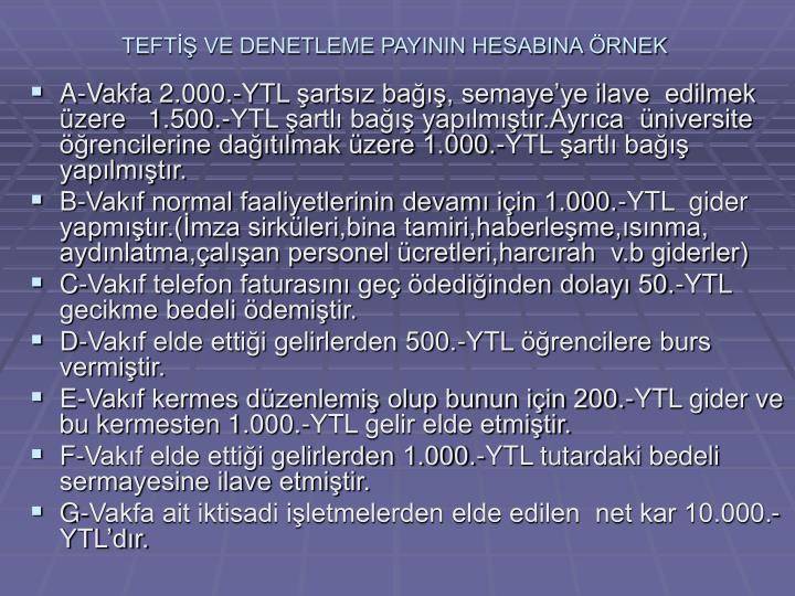 TEFTİŞ VE DENETLEME PAYININ HESABINA ÖRNEK