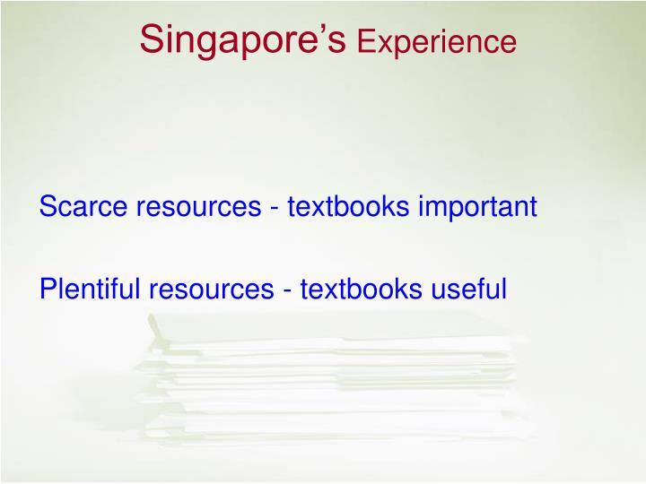 Scarce resources - textbooks important