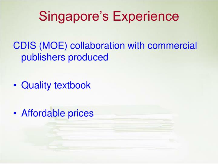 CDIS (MOE) collaboration with commercial publishers produced