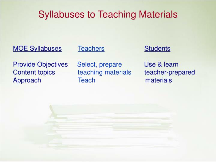 Syllabuses to Teaching Materials