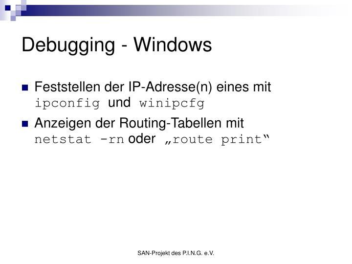 Debugging - Windows