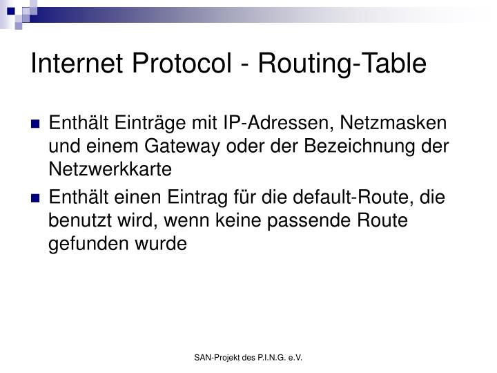 Internet Protocol - Routing-Table