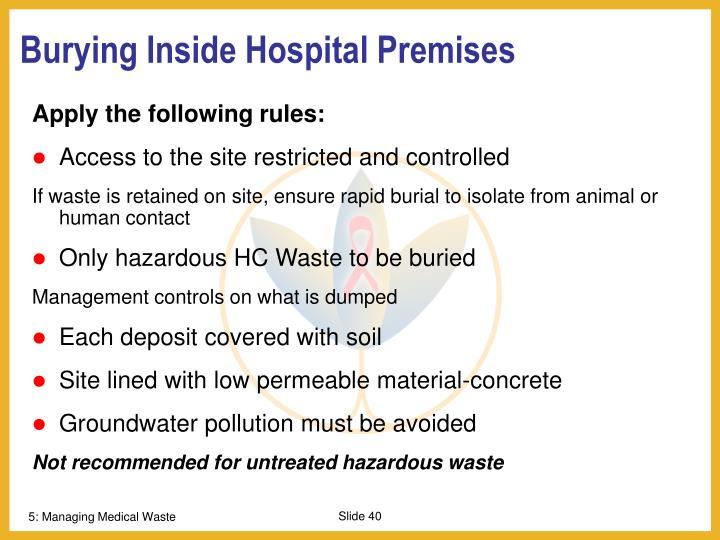 Burying Inside Hospital Premises