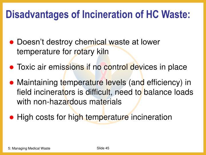 Disadvantages of Incineration of HC Waste: