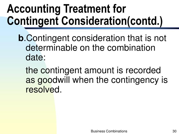 Accounting Treatment for Contingent Consideration(contd.)