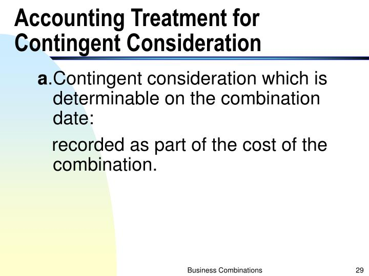 Accounting Treatment for Contingent Consideration