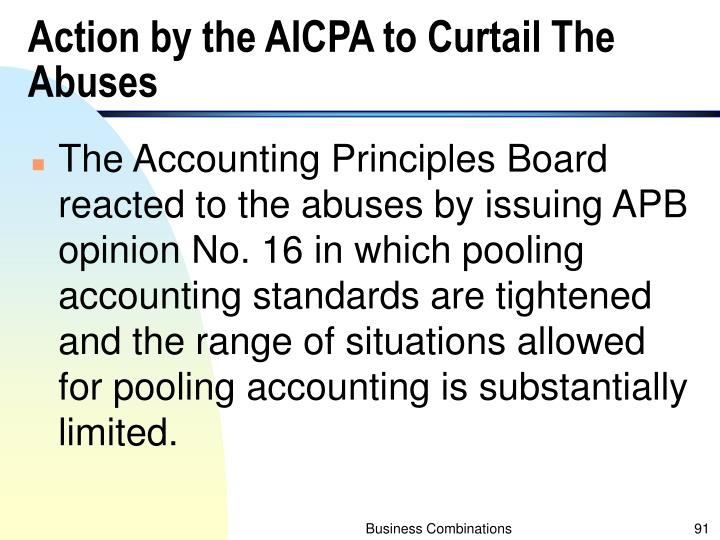 Action by the AICPA to Curtail The Abuses
