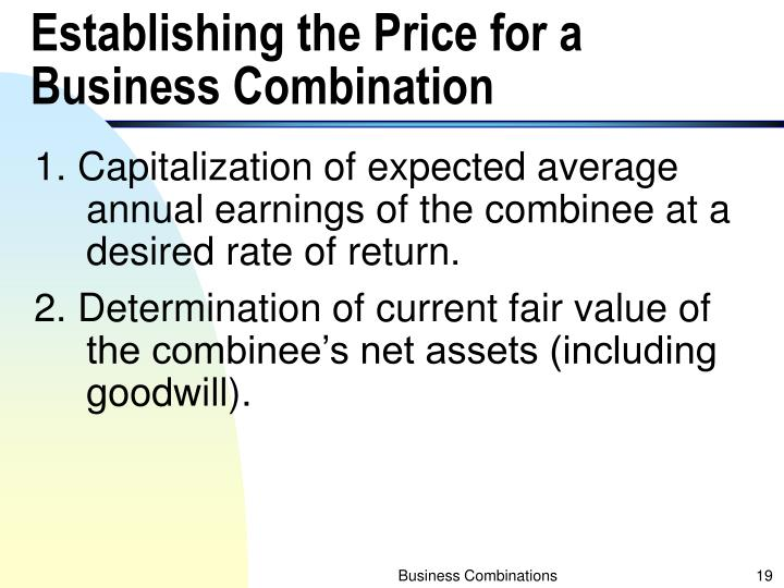 Establishing the Price for a Business Combination