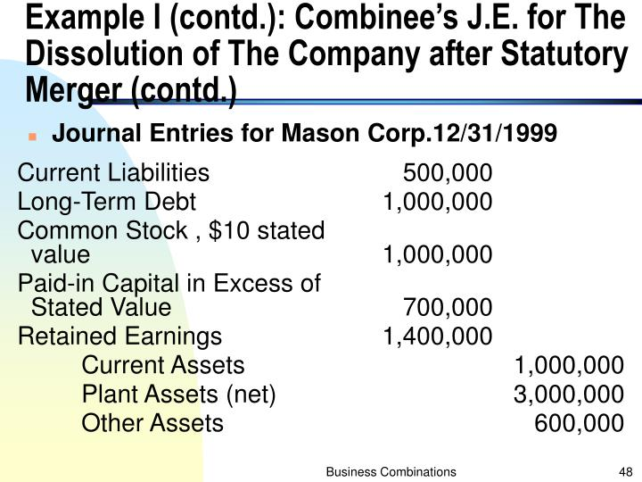 Example I (contd.): Combinee's J.E. for The Dissolution of The Company after Statutory Merger (contd.)