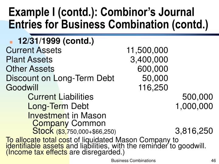Example I (contd.): Combinor's Journal Entries for Business Combination (contd.)