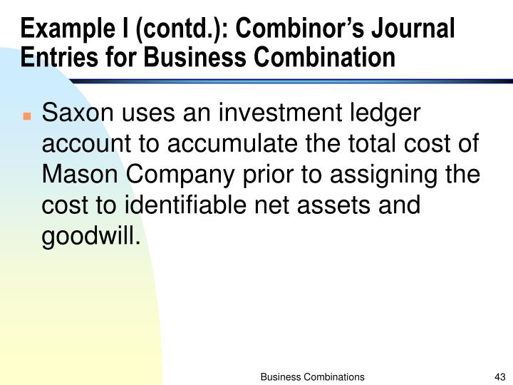 Example I (contd.): Combinor's Journal Entries for Business Combination